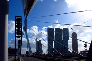 Erasmus Bridge Rotterdam city traffic