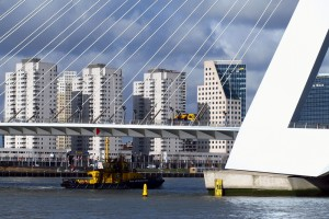 Erasmus Bridge Rotterdam shipping