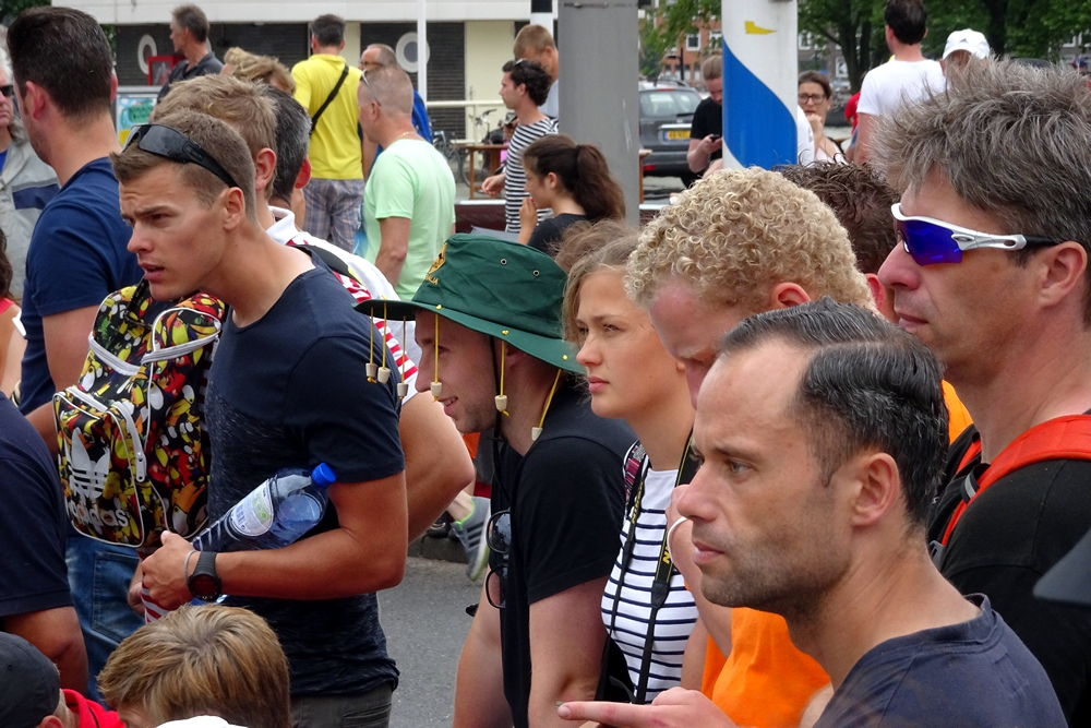 Rotterdam city audience waiting in patience for first runners Tour de France 2015