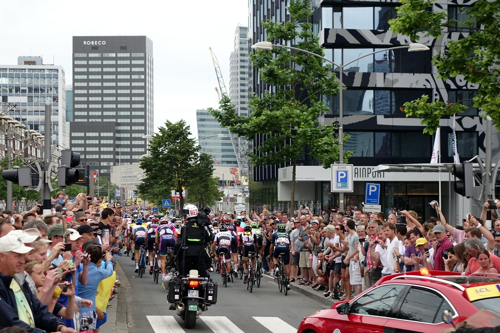 Tour de France peloton towards Coolsingel Rotterdam City