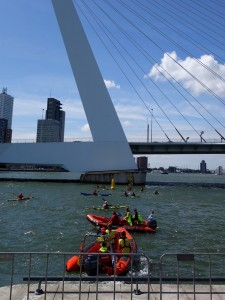 Rotterdam Swim challenge, boats in front of Erasmus Bridge