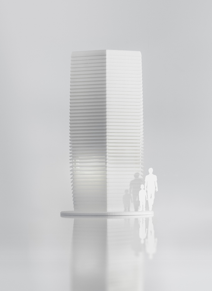 Smog free tower Rotterdam animation to indicate the scale
