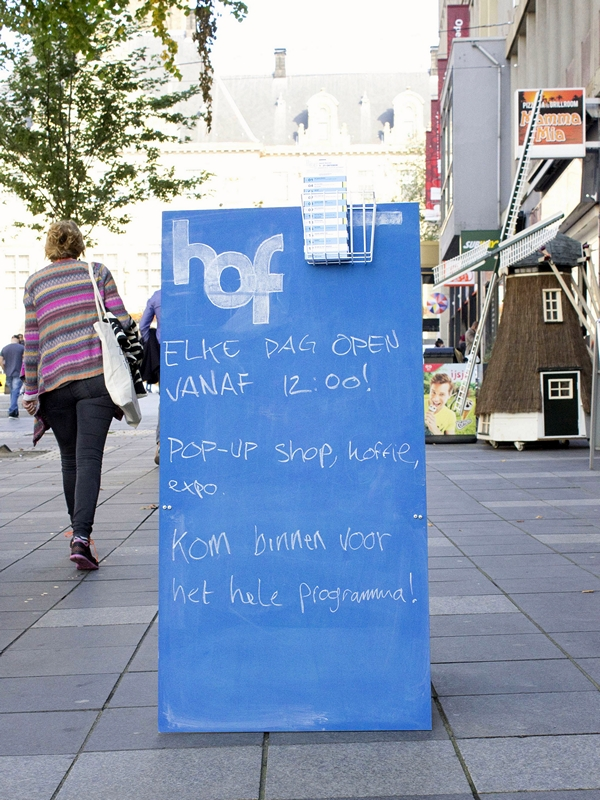 Young entrepreneurs sign board at Stadhuisplein