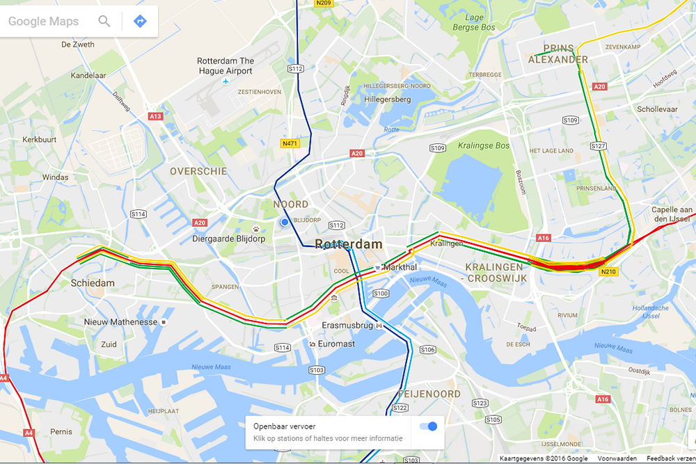 Rotterdam subway lines on Google Maps